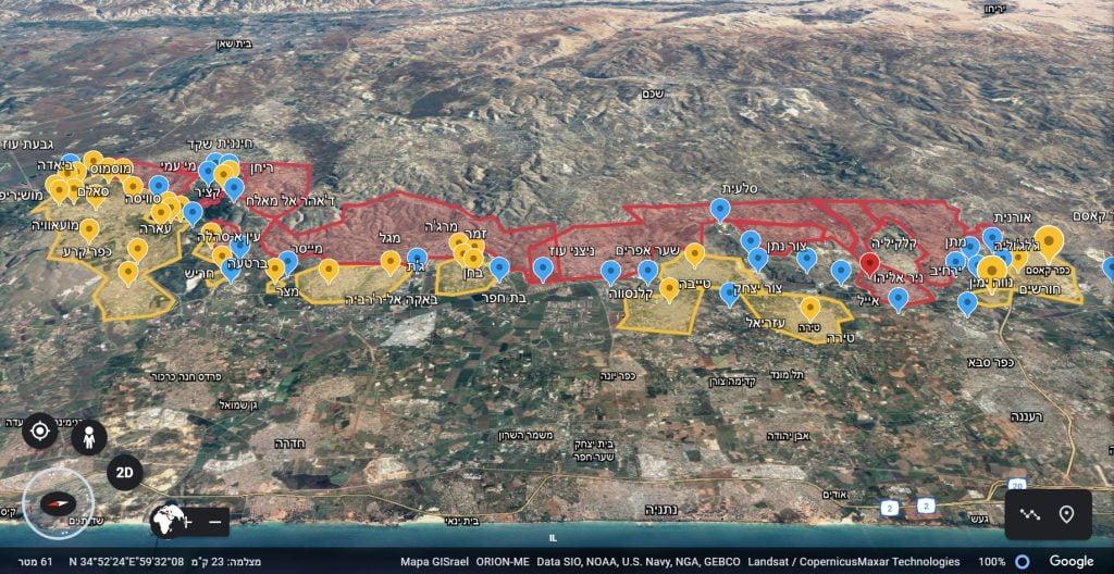מפת היישובים הערביים במשולש